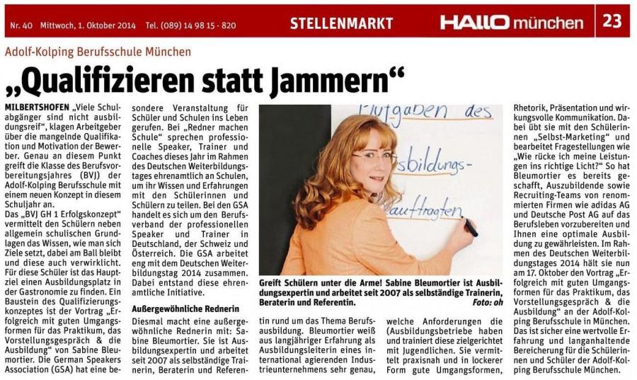 Ehrenamtliches Engagement Sabine Bleumortier GSA Schultag