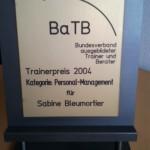Auszeichnungen Sabine Bleumortier - Trainerpreis BaTB